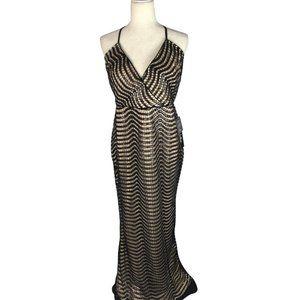 Lulu's  Black Crotchet Lace Sequined Maxi Dress